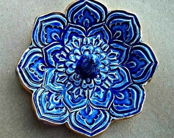 Ceramic Mirror Blue Lotus Ring Holder Ring Dish  gold edged