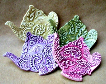Four Teapot Tea bag Holders Paisley