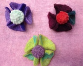 SALE: 3 Felted Flower Pins by PenFelt