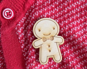 SALE! - Happy Wooden Cookie Brooch  - Kawaii Gingerbread Man