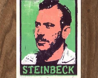 John Steinbeck Linocut Handpulled Print