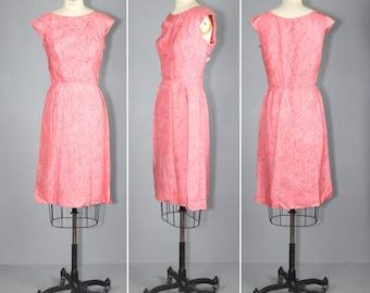 1960s dress / floral appliqué / silk / INK ON GLASS vintage dress