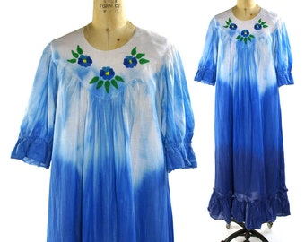 Boho Cotton Dress / One of a Kind Tie Dye Maxi Dress with Hand Painted Flowers / Vintage 1980s Bohemian Hippie Dress Ombre Dyed