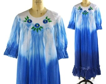 Hand Painted Hippie Dress / One of a Kind Tie Dye Cotton Maxi Dress with Painted Flowers / Vintage 1980s