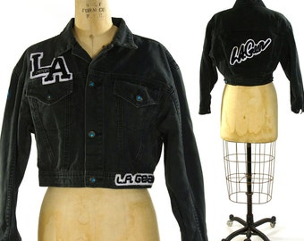 LA Gear Cropped Denim Jacket / Vintage 1980s early 1990s Black Denim Jean Jacket