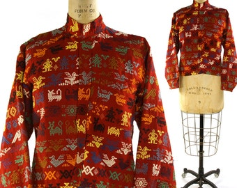 Huipil Blouse / Vintage 1960s Woven Guatemalan or Mexican Shirt with Embroidery