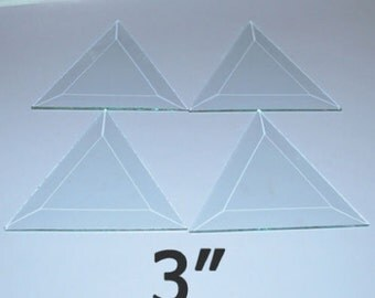 10 pack - 3 Inch TRIANGLE Clear Glass Bevel - Flat On Back - Solder Art