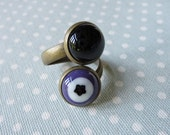 Ring, Fused Glass Wrap Ring, Adjustable Double Bohemian Ring, Handmade Fused Glass, Purple and Black
