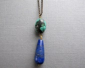 Turquoise and Lapis Necklace, Long Layering Chain Necklace, Natural Gemstone Jewelry, Blue and Green Pendant