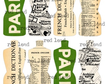 "Digital Paris Dress Forms Collage Sheet - 8-1/2"" x 11"" - Vintage Elements 106 - Paris Mannequins"