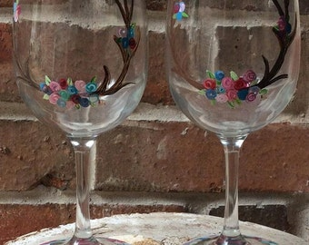 Deer Antler and Rosettes set of 2 hand painted wine glasses