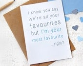 Most Favourite Father's Day Card. Father's Day. Mother's Day Card. Typography Card. Quirky Card.