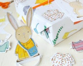 Dress Up A Rabbit Interactive Wrapping Paper Set. Festive Gift Wrap. Quirky Eco Friendly Paper. Children's Christmas Wrap. Toy Rabbit.