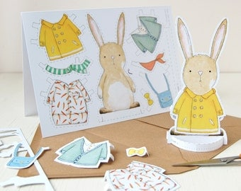 Rabbit Dress Up Card - Paper Doll Rabbit Toy – Bunny Cut Out Card - Quirky Kids Easter Craft Activity - Rabbit Lovers