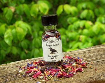 The Morrigan Spell Oil - Triple Goddess, Raven Totem, Maiden, Mother, Crone, Morrigu, Celtic Worship, Dragon's Blood, Wicca, Pagan