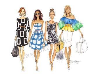 They're Back -SATC-Fashion Illustration-by-Brooke Hagel- Carrie- Samantha-Charolette- Miranda