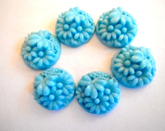 SIX vintage cabochons (6) glass Japanese carved stone cab aqua turquoise blue floral carved round 15mm (6)