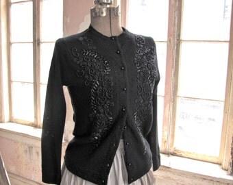 1950s Black Wool Beaded Cardigan Medium