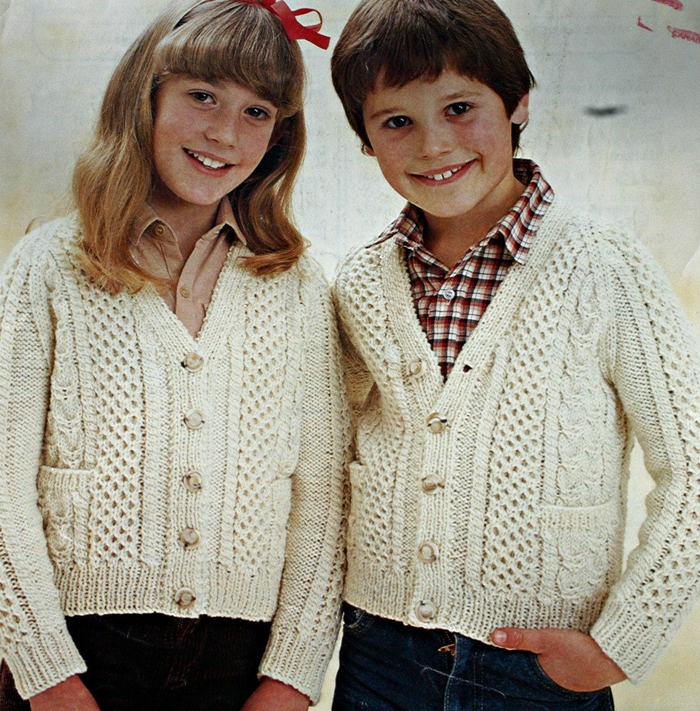 Patons Knitting Patterns Children : Aran Cardigan Knitting Pattern Children Patons 7200 Vintage