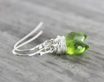 Green Peridot Earrings, Peridot Gemstone Earrings, Sterling Silver Earrings, August Birthstone Earrings, Light Green Earrings, Wire Wrapped