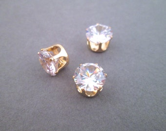 10mm Cubic Zirconia in 14k gold plated settings, pick your amount