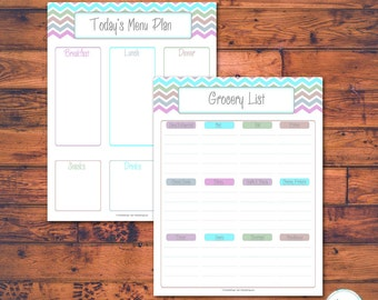 Printable Meal Planner, Menu Planner, Grocery List, Set of 2, Pastel Chevron, Instant Download