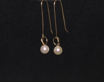 Love Knot Pearl Dangle Earrings, Freshwater Pearl, White, Gold Filled, Real Pearl, Long Drop Pearl Earrings, Dainty, Delicate, Minimalist