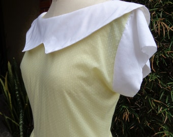 Vintage 1970's Yellow Dress with White Dots