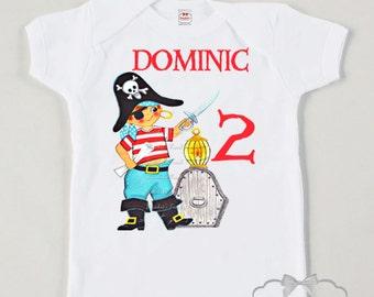 Pirate Birthday Shirt - Pirate Party Shirt - Toddler Boy Pirate - Custom Size Tee Retro - Boys Vintage Personalized - Kids Pirate Birthday