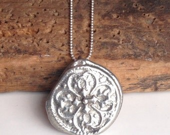 Etsy. Etsy Necklace, Etsy Jewelry, Pewter Pendant, Tribal Style Pendant, Hand Cast, Sterling Chain, Artisan Necklace, Unique Necklace