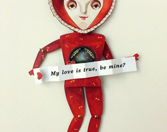 Valentine's Day art paper doll with card. Custom tiny card and miniature diorama garden art gift for that special someone.