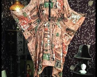 Limited Edition Egyptian Caftan Tassel Dress in shades of Coral and Green by Louise Black