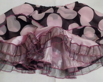 Girls skirt, Pink and Black Polka Dot Chiffon Dressy Circle Skirt with Tulle Ruffles for Toddlers and Girls
