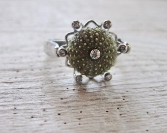 Sterling Silver Green Sea Urchin Ring with Cubic Zircon One of a Kind Size 7