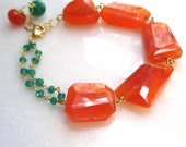Vibrant Chunky Carnelian and Green Onyx Bracelet in Gold Vermeil...