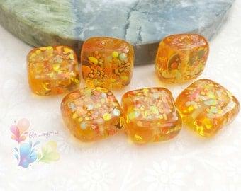 Lampwork Glass Beads Citrus Burst Tabs