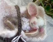 Baby Bunny Doll, Needle Felted and Hand Knit Blanket and Basket/ Animal, Room Decor