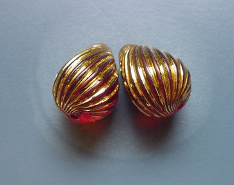 Golden Amber Swirled Drops Vintage Lucite Beads
