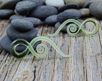 6G - 00G | Lime Seaglass | Mini Squids Made to Order - Glassheart Body Jewelry for Stretched Piercings - Made with Love in Portland, Oregon.