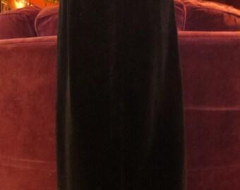 Vintage Long Black Velvet Skirt XS Small Gothic Steampunk