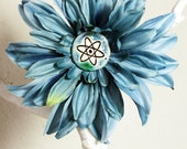 Atomic Symbol Flower Hair Clip in Blue
