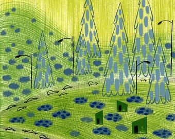 Drive Home, art print, square print, 6x6, landscape