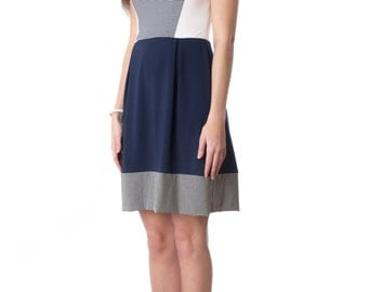 High tide dress - white, navy and stripe nautical sleeveless dress in bamboo jersey