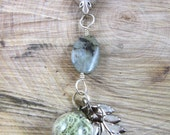 """forest collection: terrarium collage necklace with Labradorite, """"love"""""""