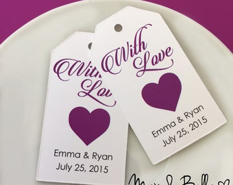Personalized Tags, With Love, Supplies, Gift Tags, Hang Tags, Bridal Favor, Wedding, Party Favor, Gift Tags - Set of 25