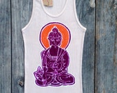 Buddha Yoga meditating  batik ribbed tank top and tees hand drawn hand painted & hand dyed women tan - Yoga clothes -