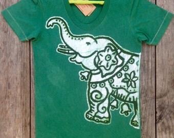 Handmade elephant, womens t shirt, batik clothing, hand dyed teal green womens clothing, ethnic elephant Tops & Tees hand drawn hand painted