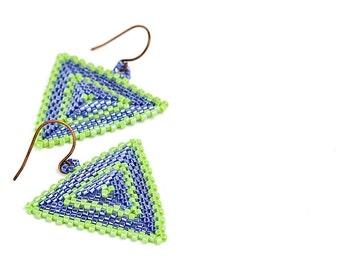 Triangle Earrings // Blue and Green // Beaded // Beadwork // Pierced // Seed Beads