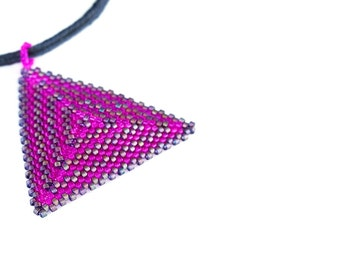 Beaded Triangle Necklace // Pendent // Pink and Bronze
