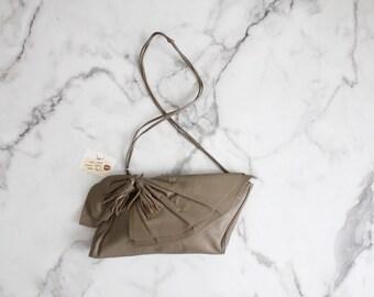leather tassel bag | taupe leather purse | leather shoulder bag